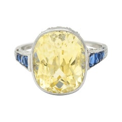 1920's Walton & Co. 8.60 Carats Sapphire Diamond Platinum Statement Ring