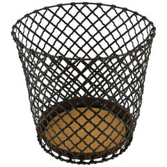 1920s Wastebasket Factory Office Lattice Wire Trash Can Vintage Industrial