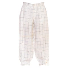 1920S White & Blue Linen Checkered Plus-Four Knickers Pants