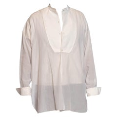 1920S White Cotton Piqué Formal Bib Front French Cuff Men's Shirt