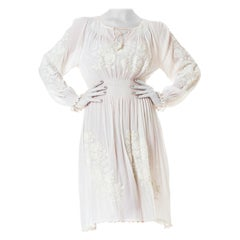 1920S White Embroidered Long Sleeve Peasant Bridal Dress