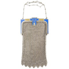 1920s Whiting and Davis Blue Enamel Art Deco Clasp Mesh Bag