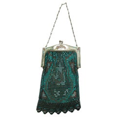 1920s Whiting and Davis Metallic Green Mesh Bag