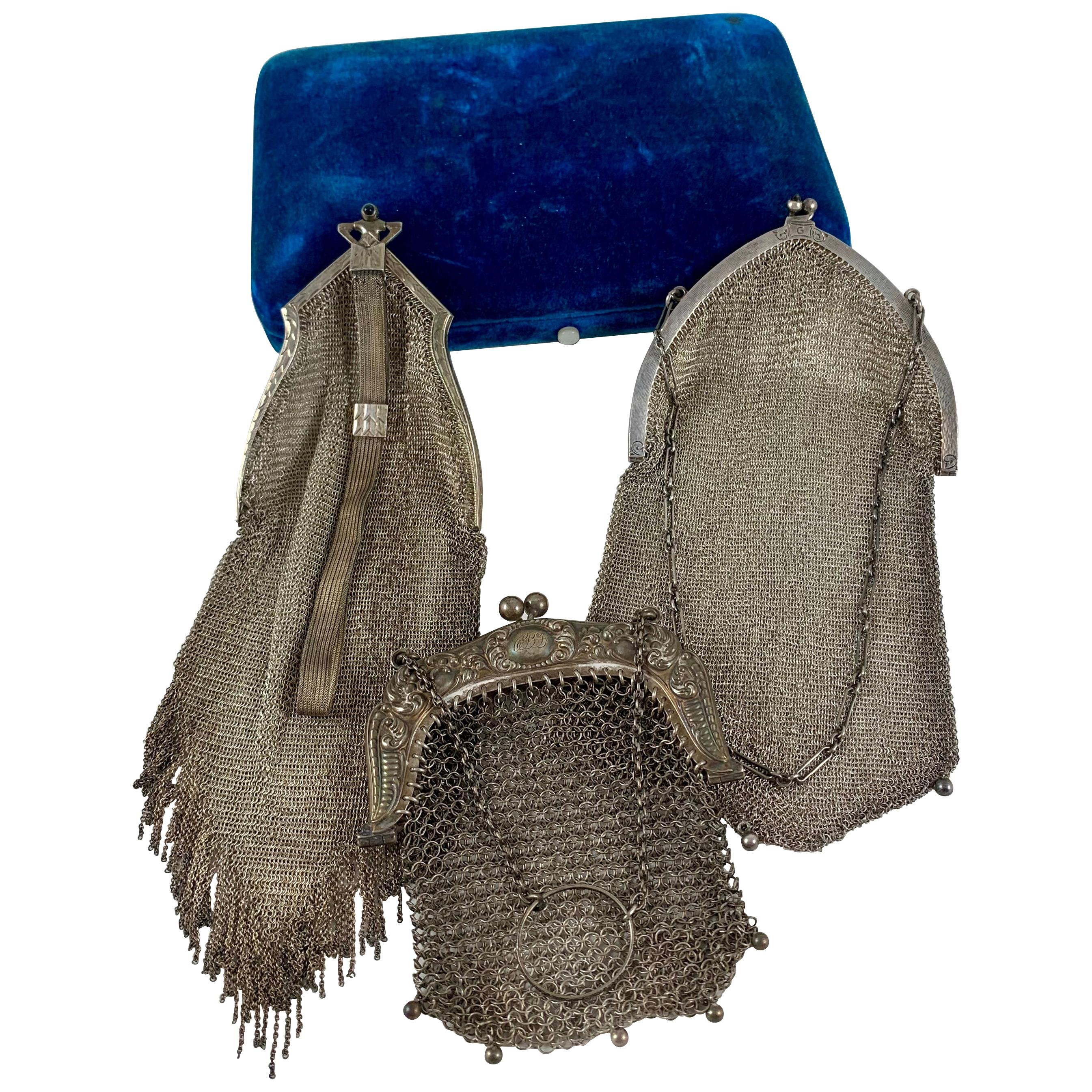 1920s Whiting and Davis Sterling Silver Mesh Art Deco Evening Bags, Group of 3