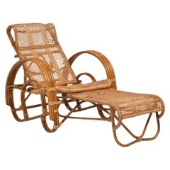 1920's Wicker Lounge to Chaise Chair with Extendable Ottoman