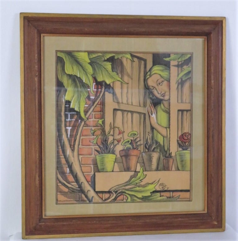 Dramatic and lovely watercolor happy depiction of a period 1920s lady at an open window looking out at the follage and potted plants. Realized by William Bradford Green, a noted American artist (1871-1945), it is a realistic portrayal in pen and