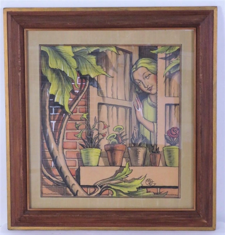 Art Deco 1920s William Bradford Green Watercolor with Heydendryk Frame For Sale