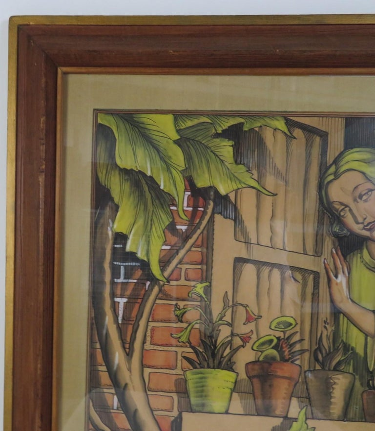 Hand-Painted 1920s William Bradford Green Watercolor with Heydendryk Frame For Sale
