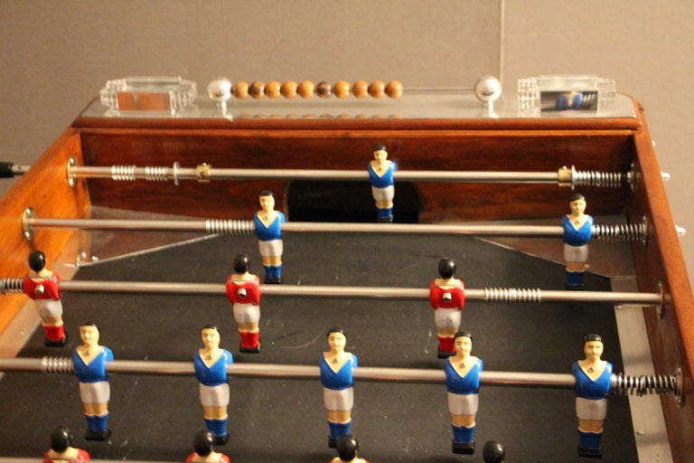 French 1920s Wood and Aluminum Foosball Table