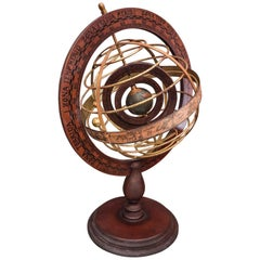 1920s Wood and Brass Armillary Sphere with Double Rotating Globe
