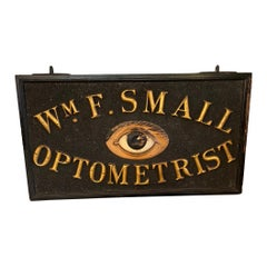 1920s Wooden Double Sided Optometrist Sign with Gilded Letters