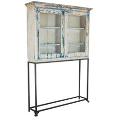 1920s Wooden Vitrine with Vintage Patina on Stand
