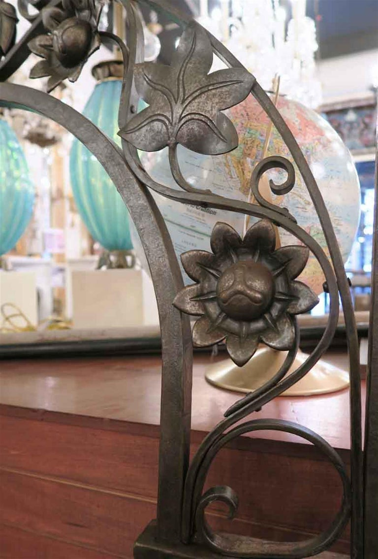 Early 20th Century 1920s Wrought and Cast Iron Art Nouveau Floral Gateway Arch For Sale