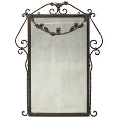 1920s Wrought Iron Framed Mirror