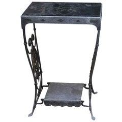 1920s Wrought Iron Table with Italian Portoro Marble Top