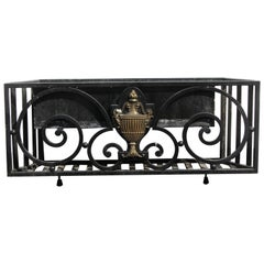 1920s Wrought Iron Window Exterior Flower Box with Georgian Urn Detail