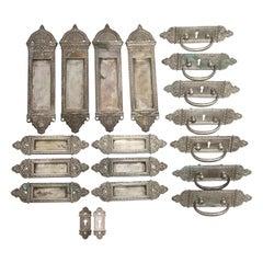 1920s Yale & Towne Silvered Brass Hardware Set