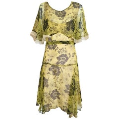1920s Yellow and Brown Floral Print Silk Dress