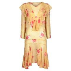 1920s Yellow Chiffon Floral Dress
