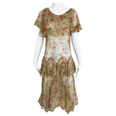 1920s Yellow Floral Print Day Dress