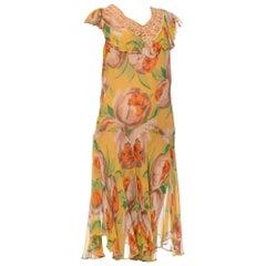 1920S Yellow Green & Orange Floral Silk Chiffon Pullover Drop-Waist Flapper Dre