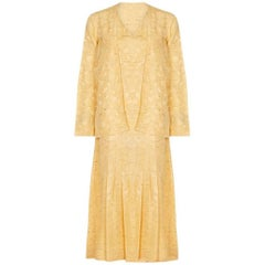 1920s Yellow Silk Flapper Dress With Matching Jacket