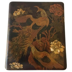 1920s Asian Hand Painted Lacquered Box