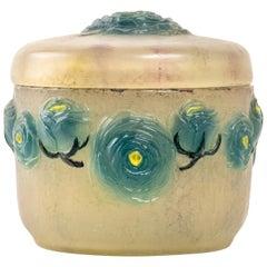 1921 Gabriel Argy-Rousseau Box Frosted Roses Renonculus Box Jar Pate de Verre