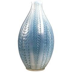 1921 Original René Lalique Acacia Vase Triple Cased Opalescent Glass Blue Patina