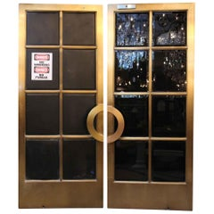 1921 Pair of Bronze Art Deco Doors with Bevelled Glass from the Crown Building