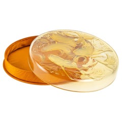 1921 Rene Lalique Cyprins Yellow Opalescent Box with Satin Base, Fishes