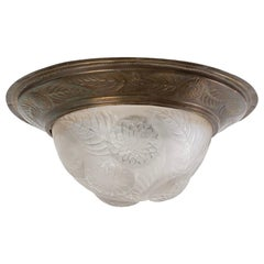 1921 Rene Lalique Dahlias Ceiling Light Fixture Shade Frosted Glass