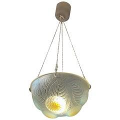 1921 René Lalique Dahlias Complet Ceiling Light Chandelier Opalescent Glass