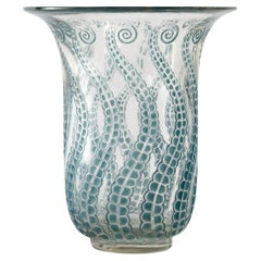 1921 René Lalique Meduse Vase in Clear Glass with Blue Patina