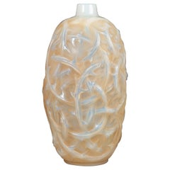 1921 René Lalique Ronces Vase in Double Cased Opalescent Glass with Sepia Stain