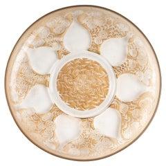 1921 René Lalique Vases de Fleurs Glass Plate Low Bowl Sepia Patina R.Lalique
