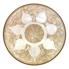 1921 René Lalique Vases Glass Plate Low Bowl Sepia Patina R.Lalique