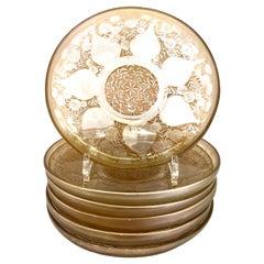 1921 Rene Lalique Vases Glass Plates Low Bowls Sepia Patina R.Lalique Set of 6
