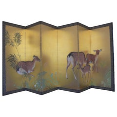 "1921 Wind Wall ""Roe deers in a bamboo forest"" Wood, Paper, Silk"