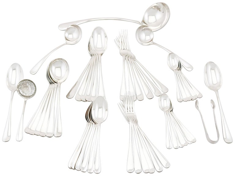 1922 Antique Sterling Silver Canteen of Cutlery for Six Persons For Sale 7