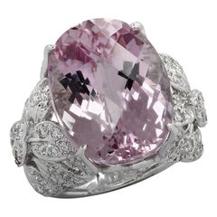 19.22 Carat Pink Kunzite and Diamond Cocktail Ring