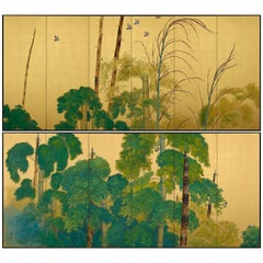 1922 Japanese Screen Pair, Birds in Bamboo Forest by Yamamoto Shuntei