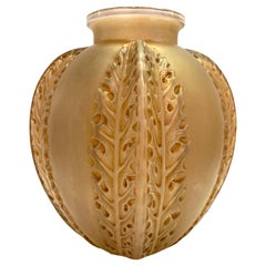 1922 Rene Lalique Chardons Vase in Frosted Glass with Sepia Patina