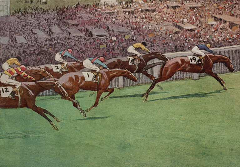 1923 Derby Prints, Start And Finish by Cecil Aldin For Sale 8