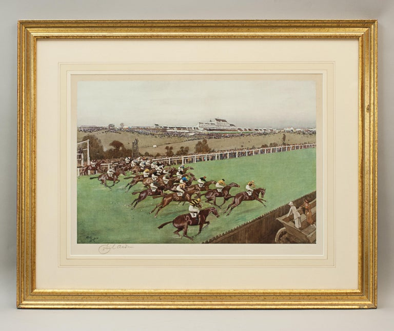 Pair of Cecil Aldin horse racing prints start and finish. A pair of horse racing photolithographs by Cecil Aldin