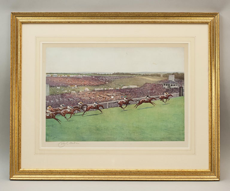 Sporting Art 1923 Derby Prints, Start And Finish by Cecil Aldin For Sale
