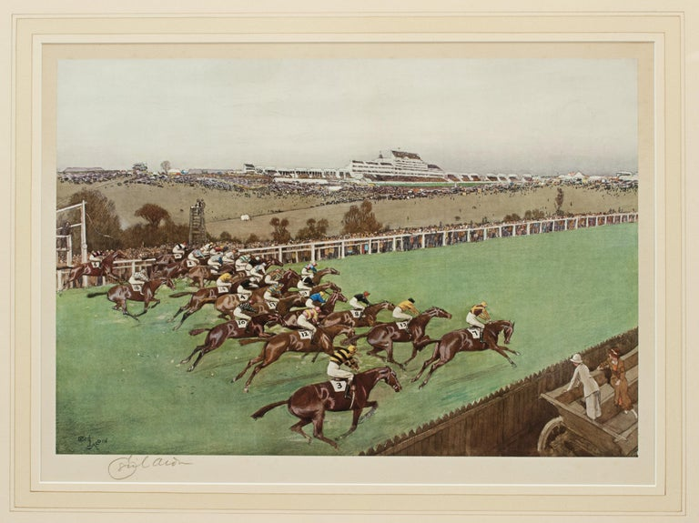 British 1923 Derby Prints, Start And Finish by Cecil Aldin For Sale