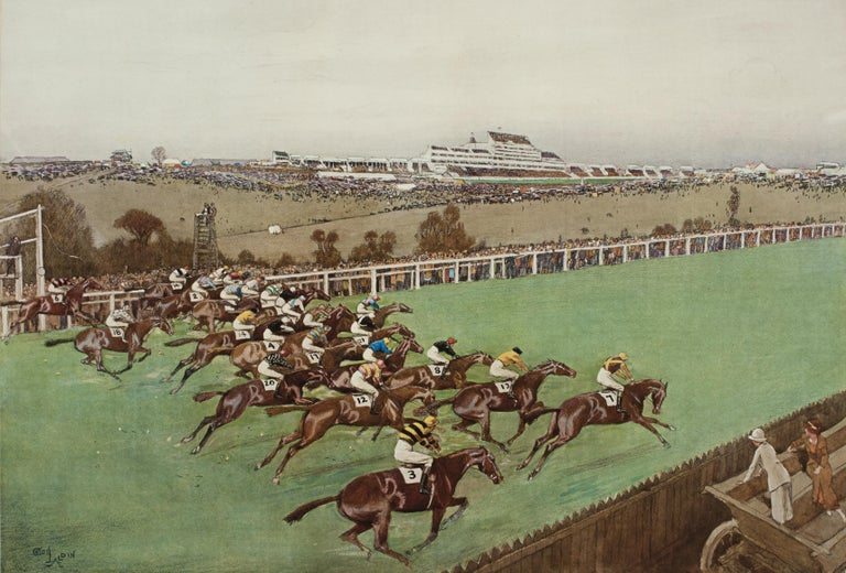 1923 Derby Prints, Start And Finish by Cecil Aldin In Good Condition For Sale In Oxfordshire, GB