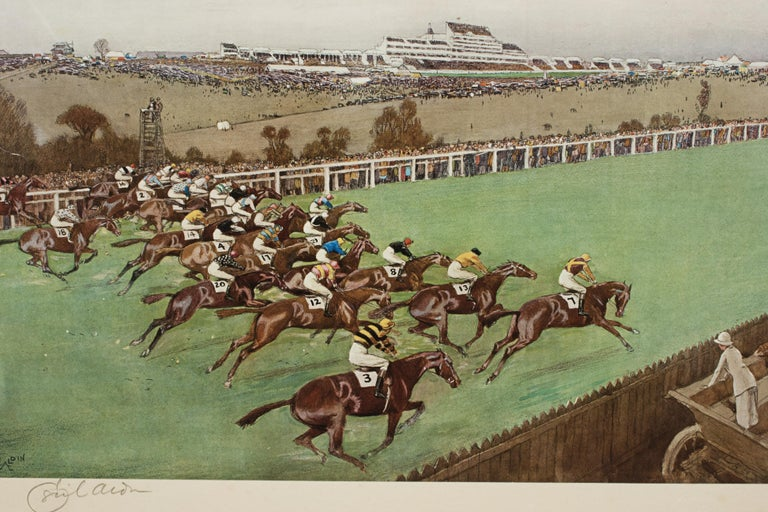 Early 20th Century 1923 Derby Prints, Start And Finish by Cecil Aldin For Sale