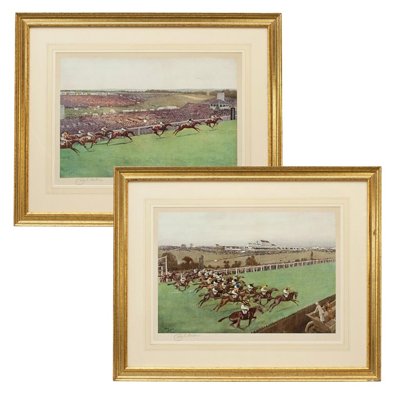 1923 Derby Prints, Start And Finish by Cecil Aldin For Sale
